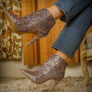 Qupid Milia Silver Multi Glitter Stiletto Bootie